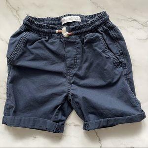 Zara boys drawstring navy cotton roll up shorts 7